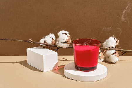 Empty white round and rectangular podium with shadows, candle and branch of cotton. Wabisabi style, earth tone. Mockup for presentation of eco or organic products, cosmetics. Reklamní fotografie