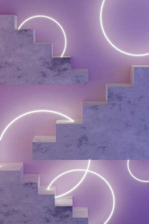 Violet neon modern design template with stairs 3d render and glowing circles. Abstract 3d render mockup. Minimal style. Фото со стока