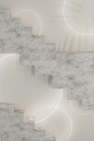 Beige modern design template with stairs 3d render and glowing circles. Abstract 3d render mockup. Minimal style. Фото со стока