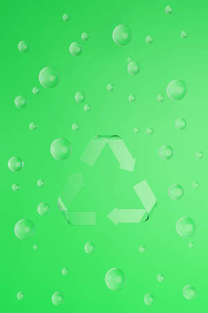 Sign Reduce, Reuse, Recycle on green background with glass balls. 3d render eco illustration.