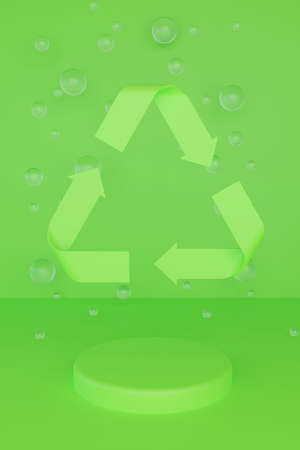 Sign Reduce, Reuse, Recycle on green background with glass balls and round podium. 3d render eco illustration.