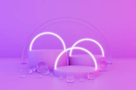 Pastel violet minimal three 3d background with neon effect. Poster design with studio podium platform, glass balls and glowing spheres. Abstract 3d render.