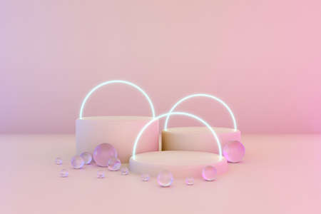 Pastel pink minimal three 3d background with neon effect. Poster design with studio podium platform, glass balls and glowing spheres. Abstract 3d render. Minimal stage for business concept. Фото со стока