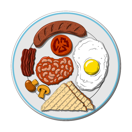 English breakfast isolated, vector illustration. Sausage, an egg, a toasted bread, a bacon, a sausage, a tomato