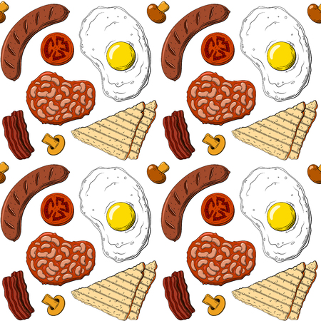 English breakfast colorful pattern