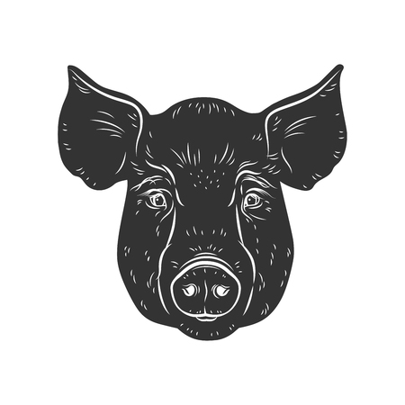 Stencil for laser cutting. Vector pig's head isolated on white background. Black and white sign, emblem, symbol. Stamp. Stock Illustratie