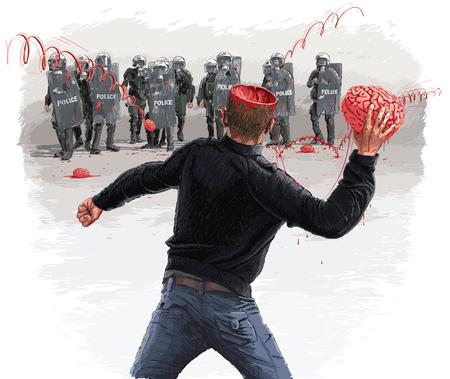 Brainstorm protest illustration.