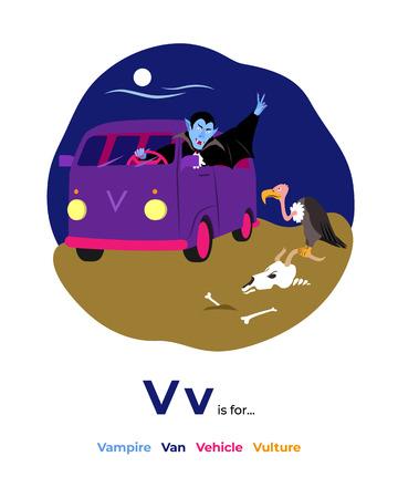 Illustration of V letter for alphabet