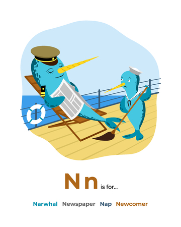 Illustration of letter N for alphabet