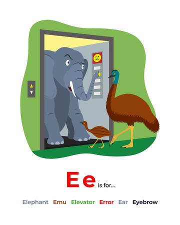 Illustration of letter E for alphabet Illustration