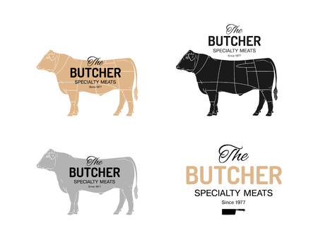 Butcher Specialty Meats Shop logotype or sign. With chart of cuts of bull Angus. Vintage style.