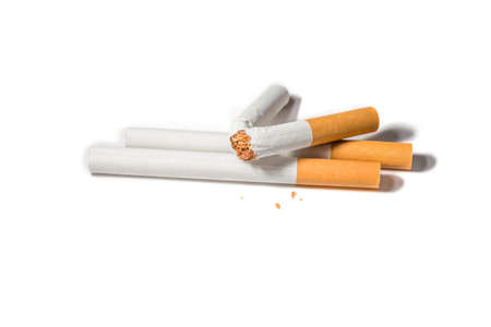 carcinoma: Cigarette tobacco with a filter is broken