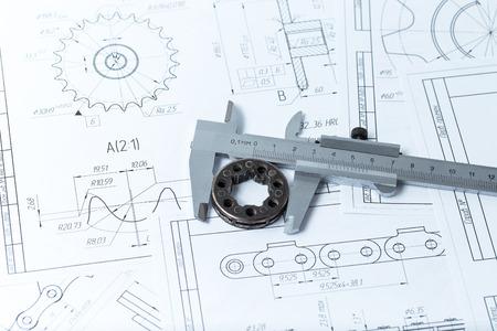 Technische tekeningen, metalen detail en de remklauw