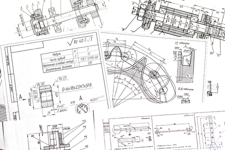 Technical drawings of the parts a few pieces laid out on the table Reklamní fotografie