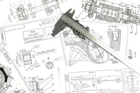 ingeniero: Dibujos de ingenier�a, detalle de metal y pinza Foto de archivo