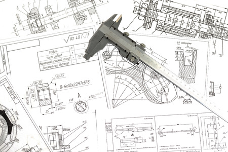 Engineering drawings, metal detail and caliper Stok Fotoğraf - 47475688