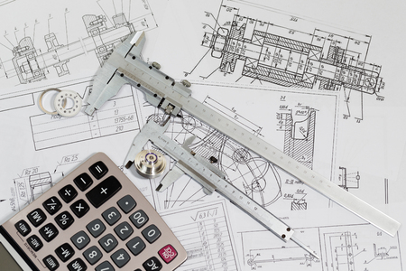 Engineering drawings & measuring instrument - Vernier caliper, coursework or thesis project. Project engineer.