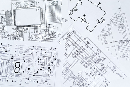 electronic board: Electrical diagrams, electronic schematic. Printed with the symbols of electronic components.