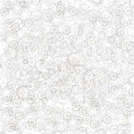 Background picture from many randomly distributed chain sprockets Çizim