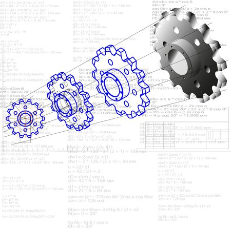 Illustration showing a process of transforming items from the project to the product. Drawing - shape - model - item. This gear wheel or chain sprocket is the driven element of the transmission Stok Fotoğraf