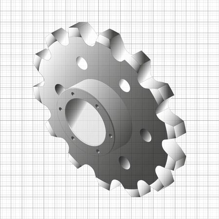 Gear, gear wheel. A stylized graphic image.