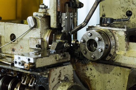 Industrial machine old design. Lathe equipment is used.