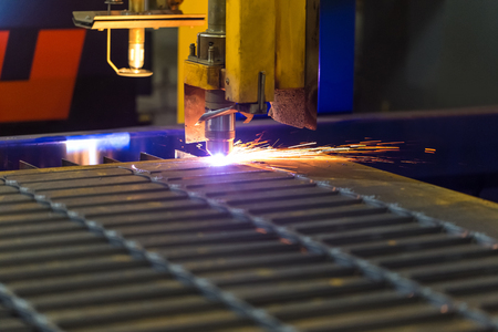 Modern technologies of production of Universal equipment for the manufacture of parts, cutting of sheet steel with laser, plasma or gas. Stok Fotoğraf