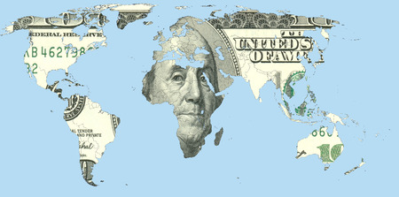 foreign land: Map of the world from us dollars, illustrating the dependence of the global ecnomic from the national currency of the United States.
