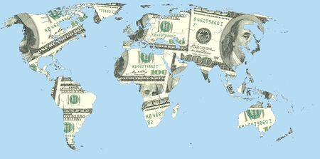illustrating: World map of Euro banknotes, illustrating the dependence of the global ecnomic from the European currency.