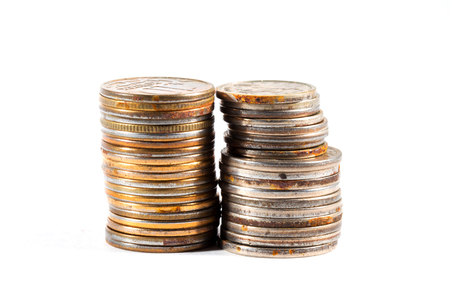 Old rusty coins stacks. Money that is not used or found money.