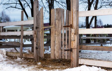 The wooden gate of the horse paddock. Reklamní fotografie