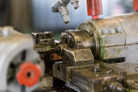 Industrial equipment, machine, machine. Realistic view of the lathe in the workshop at an engineering plant. Stok Fotoğraf