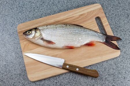 Fish on a cutting Board. Still not cooked. Next is a knife. Reklamní fotografie
