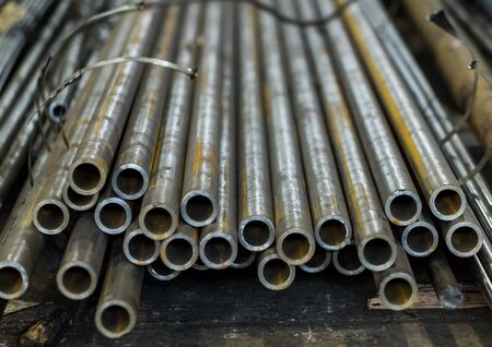 Tube steel stored in the warehouse. Designed for wholesale, retail sale or for the manufacture of parts in the factory