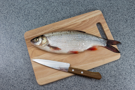Raw fish, not cooked. The fish on the cutting Board lying next to the knife. Symbolizes cooking delicious and healthy food, fish dishes.