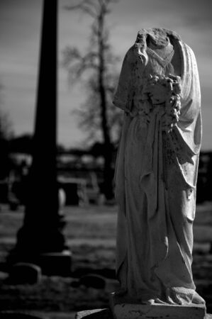 Black and White image of Riverside Cemetery statue. Stock Photo - 12376225