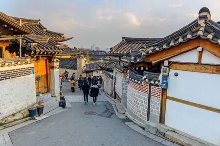 korean style house: SEOUL, KOREA - January 2,2016 :  Bukchon Hanok Village,Traditional Korean style architecture in Seoul,Korea.