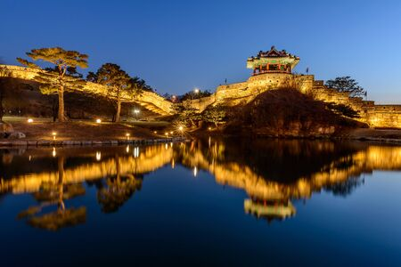 architecture alphabet: Hwaseong Fortress, Traditional Architecture of Korea in Suwon at Night, South Korea.