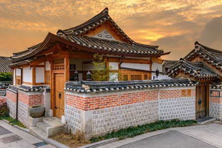 korean style house: Bukchon Hanok Village,Traditional Korean style architecture in Seoul,Korea. Editorial