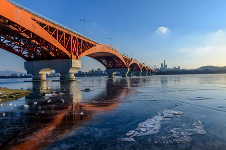 rive: Seongsa Bridge over ice Rive in South Korea