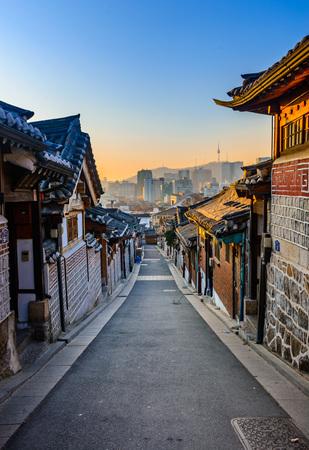 korean style house: Bukchon Hanok Village,Traditional Korean style architecture in Seoul,Korea. Stock Photo