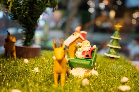 Christmas scene with deer and santa