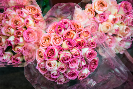 Pink roses bouquet in flower market