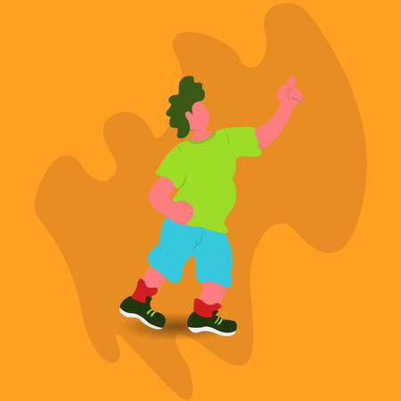 flat illustration vector graphics of a fat man doing various activities and poses suitable for mascot on banners posters brochures etc