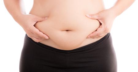 gordos: grasa de la celulitis en el est�mago en el fondo blanco Foto de archivo