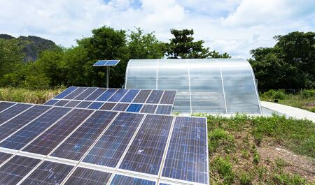 Solar cell panels in a photovoltaic power plant