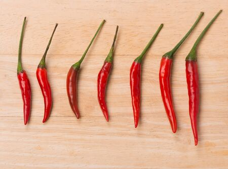 red chilli: fresh red chilli on wood background Stock Photo