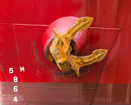 ship anchor: Close up view of cargo ship anchor Stock Photo