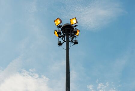 telephone poles: Sport lights post in public garden