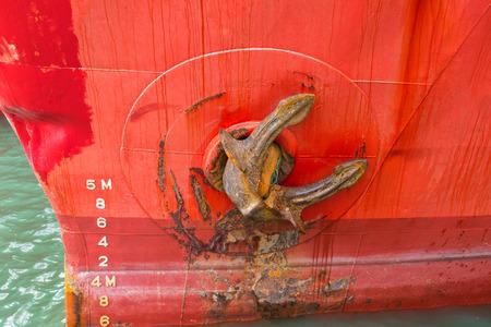 Close up view of cargo ship anchor Stock Photo